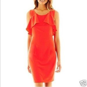 Bison Bisou Coral Lace and Ruffle Dress